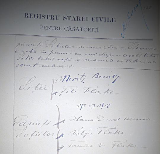 les signatures de Tili Flaks et de ses parents Volfu et Tauba Flaks