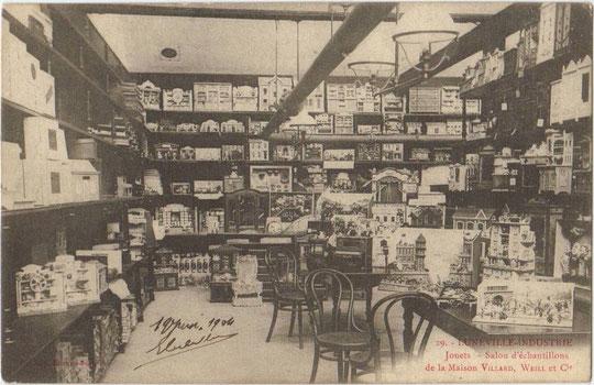 Salon d'échantillons de la Maison Villard, Weill et Cie vers 1900