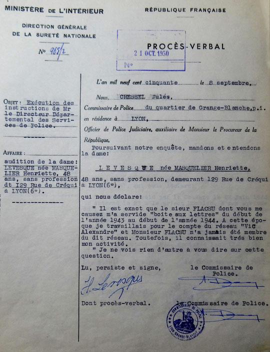 Mme Masquelier-Levesque confirme à la police (document BAVCC Caen)