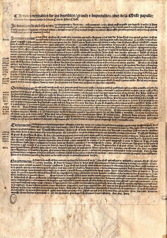 Placard contre la messe, 1534