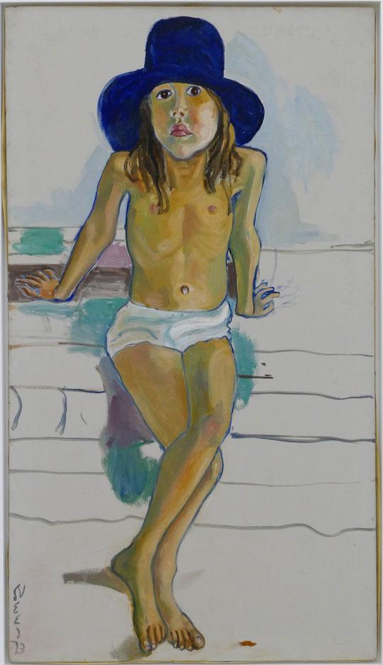 Alice Neel : Olivia avec un chapeau bleu, 1973