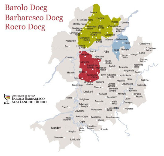 Au sud ouest d'Alba (en rouge) le secteur du Barolo, à l'est (en bleu) la zone du Barbaresco.