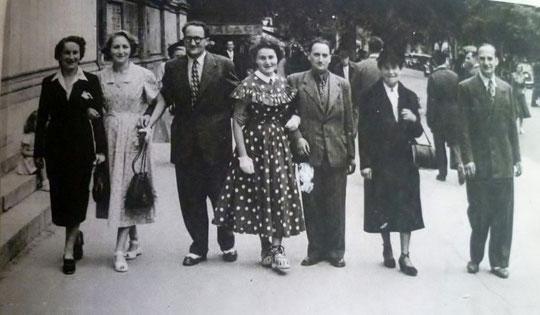1945, les Bloch, Hélène, Lucienne, Jacques, Lise, Georges (retour de captivité), Rose Simon, et André