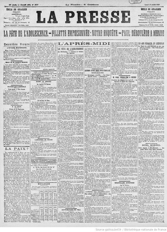 """""""La Presse"""" 31 juillet 1899 en bas à droite """"Duel mortel"""""""
