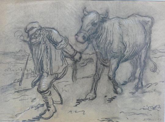 Le marchand de bestiaux, dessin d'Alphonse Lévy
