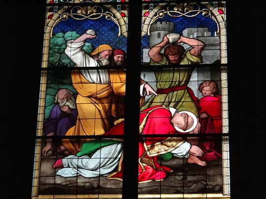 Vitraux de la Cathédrale, la lapidation de Saint Etienne par les juifs