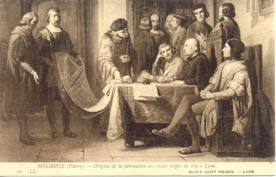 peinture montrant Thomas II de Gadagne présentant Naris et Turquet au Consulat de Lyon