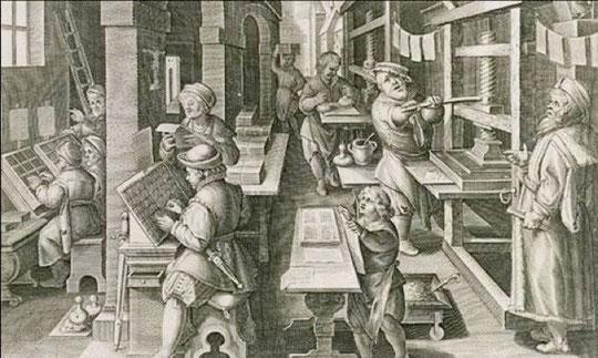 atelier d'imprimerie XVe siècle
