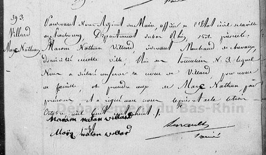 Marc Nathan Villard registre de prise de nom de 1808
