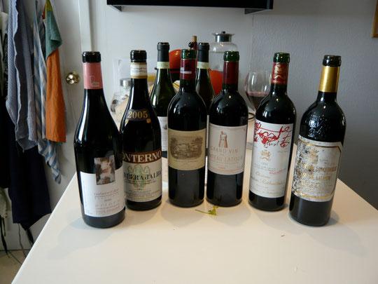 quelques belles bouteilles que nous avions vidées pour un anniversaire décennal d'Annie
