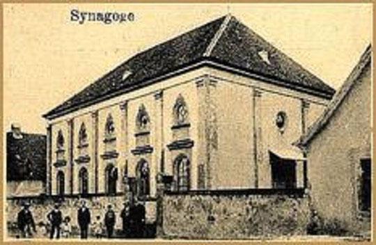La synagogue de Grussenheim sera détruite en 1940 (photo du XIXe siècle)