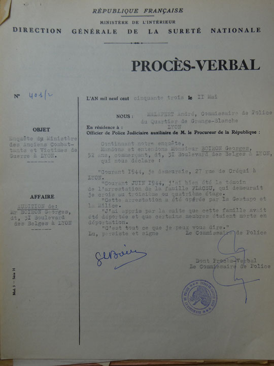 document de 1953 conservé au BAVCC à Caen