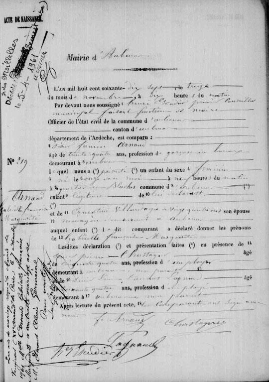 Acte de naissance de Gabrielle Françoise Marguerite Arnaud, fille d'Ernestine Villard