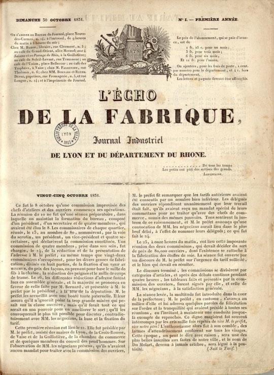 """""""L'Echo de la Fabrique"""" premier hebdomadaire ouvrier, va paraître de 1831 à 1834"""