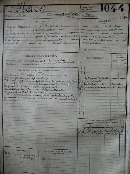 Fiche matricule de Moïse Flacs. Tout en bas, mention du 26/11/1915 d'un secours de 150 f versé à Mme Flacs (veuve)