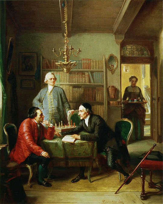 Tableau de Moritz Daniel Oppenheim (1856) représentant Lessing discutant avec Mendelssohn et Lavater