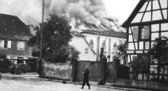 La synagogue de Grussenheim incendiée par les allemands en 1940