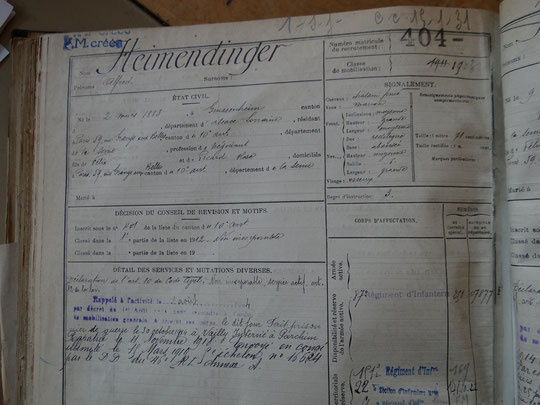 Fiche matricule d'Alfred Heimendinger avec détail des services