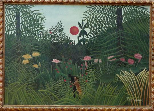 H. Rousseau (le douanier) : forêt vierge au soleil couchant, vers 1910