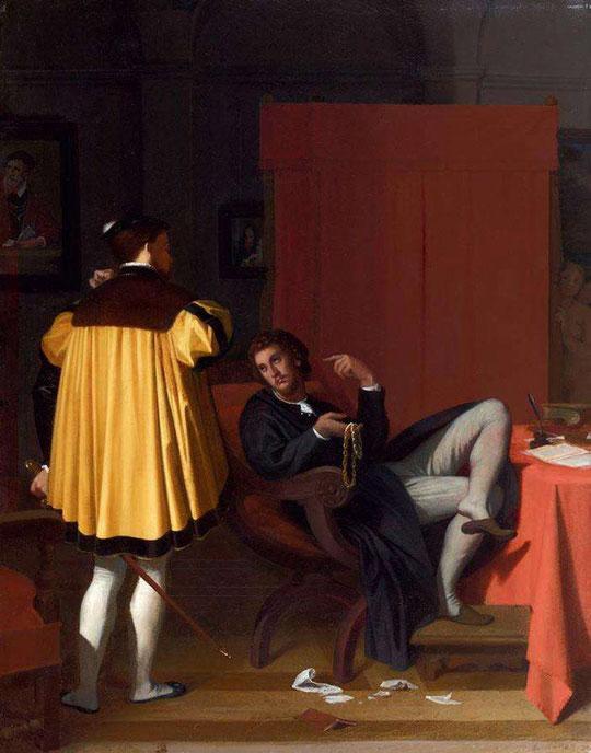 Ingres : L'Arétin et l'envoyé de Charles Quint