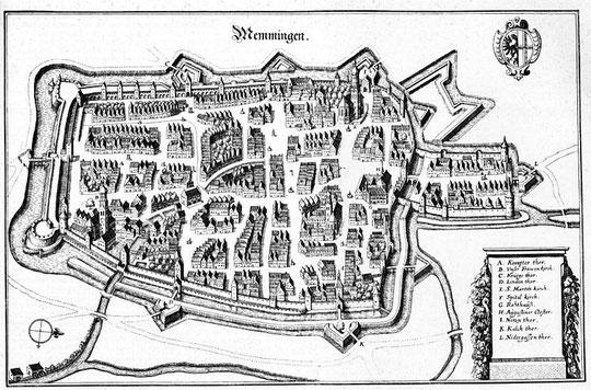 Memmingen ; gravure sur cuivre de Merian (vers 1650)