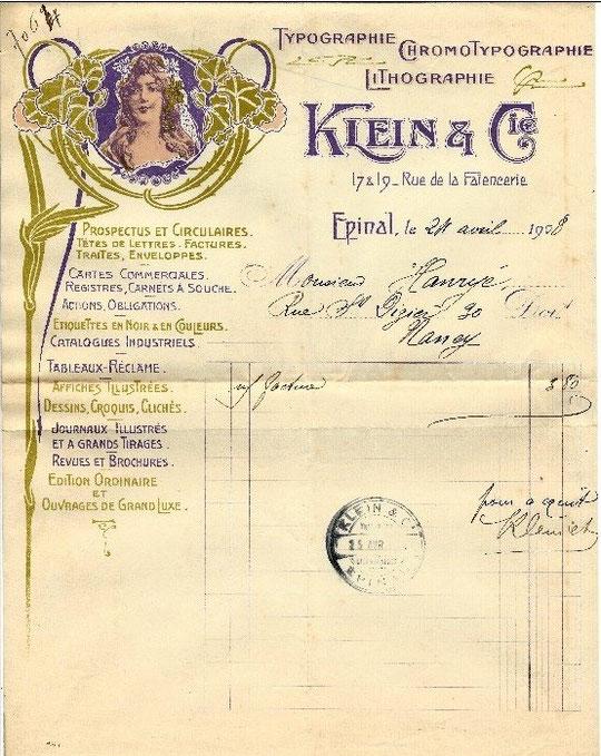 """Facture de l'imprimerie Klein avec décor """"Art nouveau"""" (1908)"""
