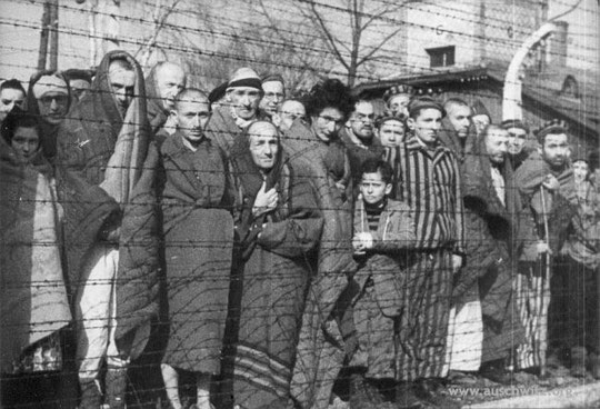 Survivants à Auschwitz lors de l'arrivée des troupes soviétiques (Musée d'Auschwitz)