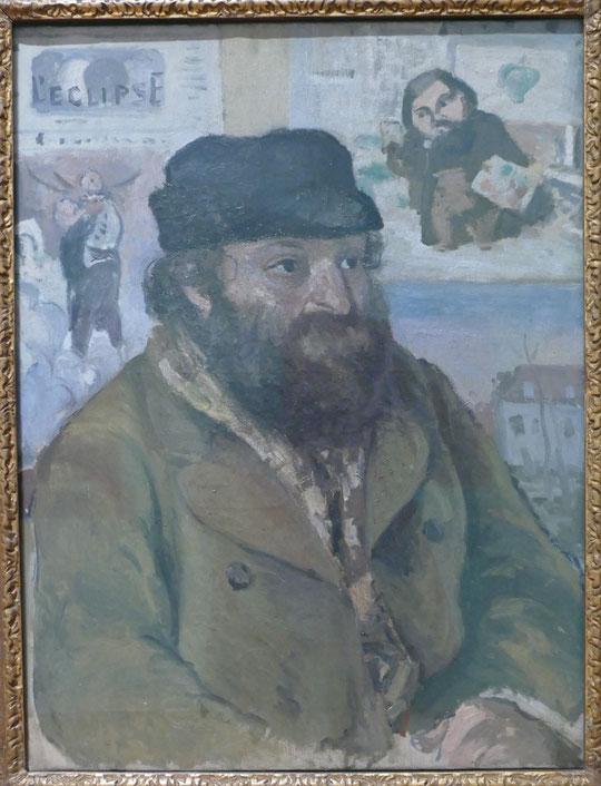 Camille Pissarro : portrait de Paul Cézanne (dans l'atelier de Pissarro) vers 1874