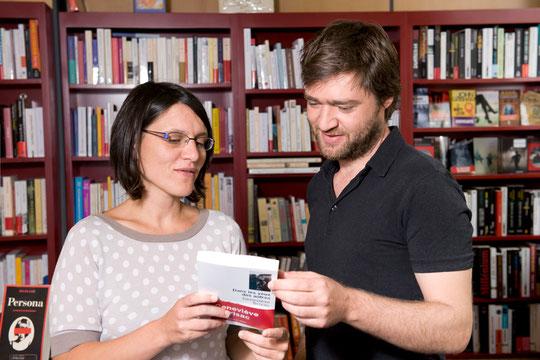 Alexandra et Boris en 2014, co-directeurs des librairies Chantelivre