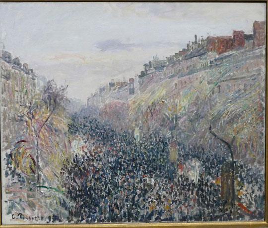 Camille Pissarro : le boulevard Montmartre, mardi gras, soleil couchant, 1897