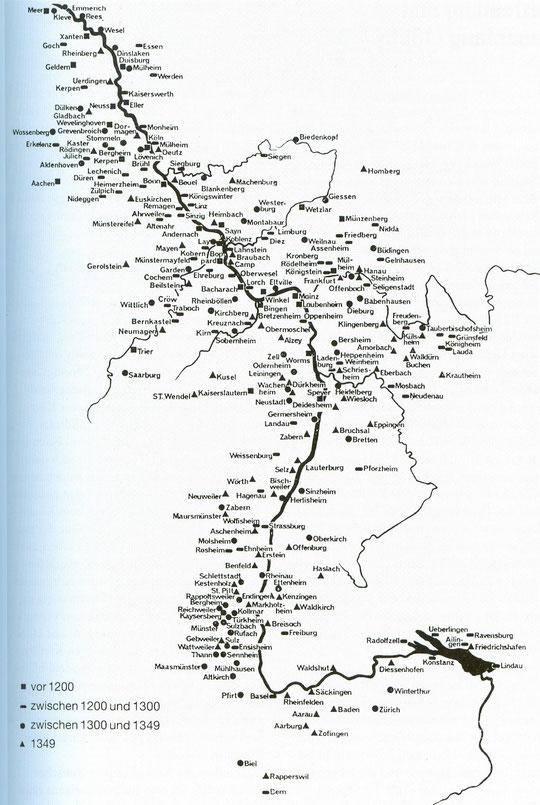Les communautés juives le long du Rhin