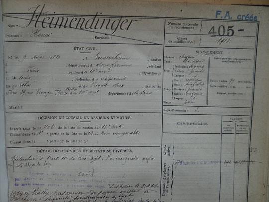 Fiche matricule d'Henri Heimendinger avec détail des services