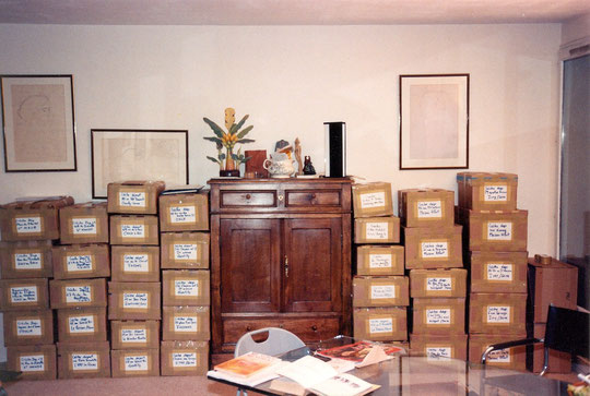 Colis préparés pour la livraison aux crèches du Val de Marne dans mon appartement devenu entrepôt provisoire