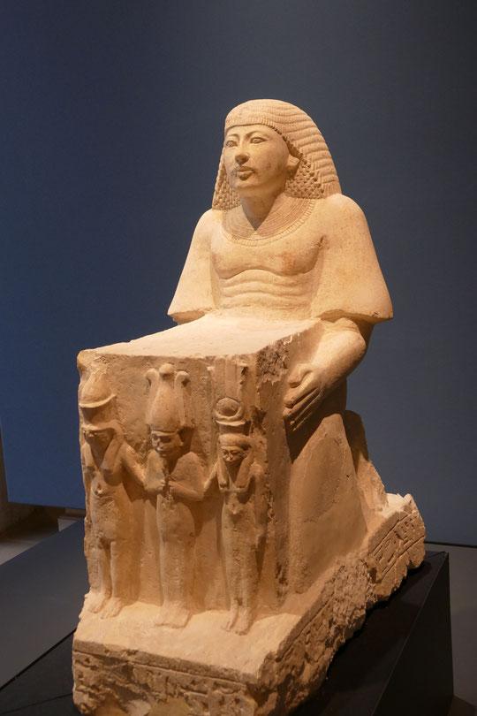 Statue de Amenmes et Reshpu (entre 1279 et 1186 avant notre ère) en calcaire;  Musée archéologique de Bologne.