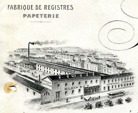 L'imprimerie Klein sur une tête de lettre de 1907
