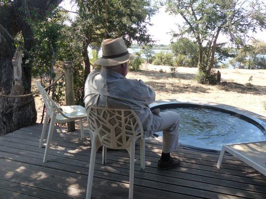 sur la terrasse de la chambre face au Zambèze (photo Annie Bentolila)