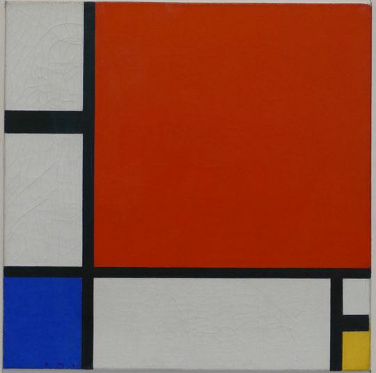 P. Mondrian : composition rouge, bleu, jaune, 1930