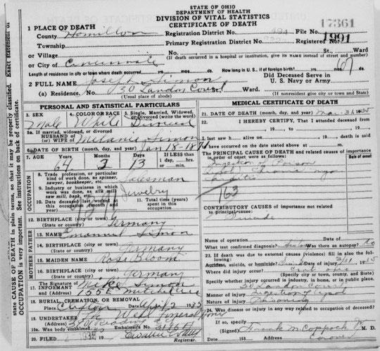 Le certificat de décès de Joseph Simon indique qu'il a ingéré du poison