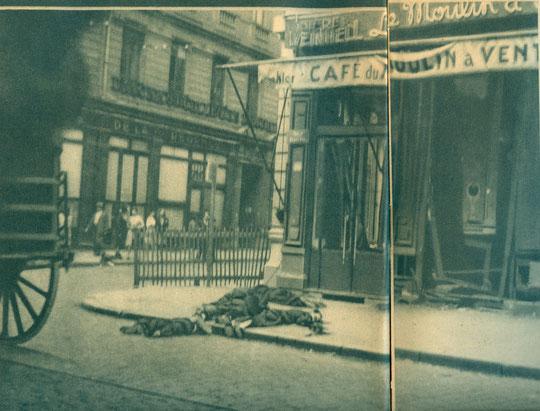 Les victimes des représailles nazies sont restées sur le trottoir jusqu'au soir (photo de Chevallier)