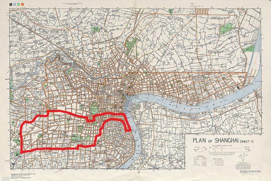 PLAN DE SHANGHAI EN 1935, en rouge les limites de la concession française