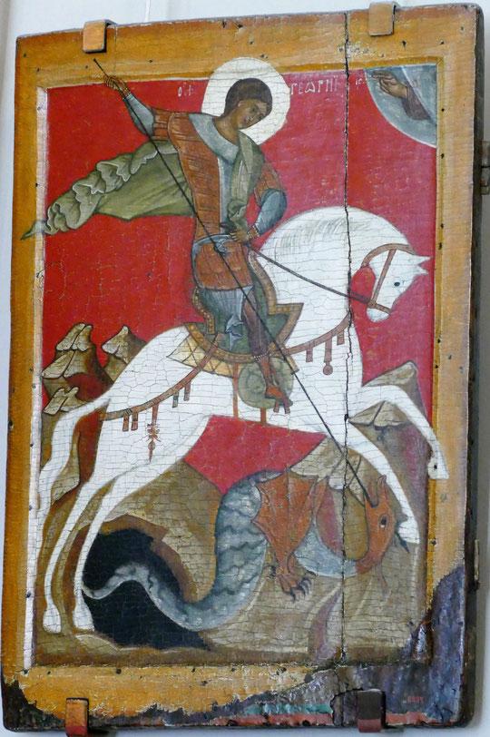 Saint-Georges terrassant le dragon. Icône du XVe siècle