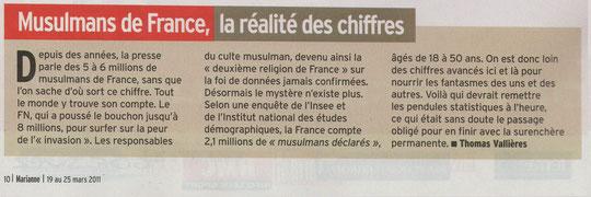 Source Marianne n° 726 du 19 au 25 mars 2011