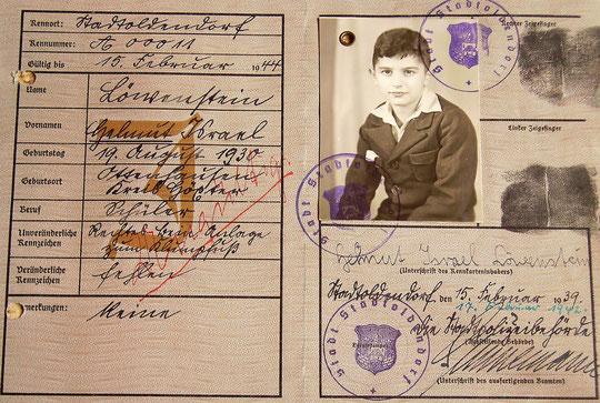 """Kennkarte (""""gültig bis 15. Februar 1944"""")"""