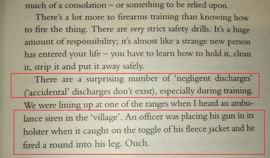 Meine eigenen Erfahrungen fand ich in diesem Buch bestätigt. Ein Bändel verfing sich, beim Holstern, im Abzug der Glock und ein Beamter war schwer verletzt.