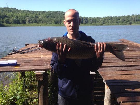 Kevin Bergmaier am 31.05.2014 gegen 10.15 Uhr Morgensternteich / Graskarpfen 85 cm, 8,3 kg