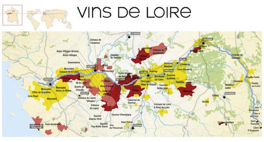Carte du vignoble du Val de Loire