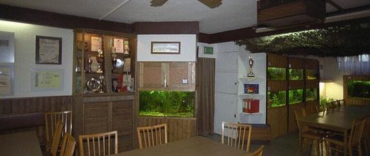 Ein Teil der ständigen Süßwasserausstellung im Aufenthaltsraum