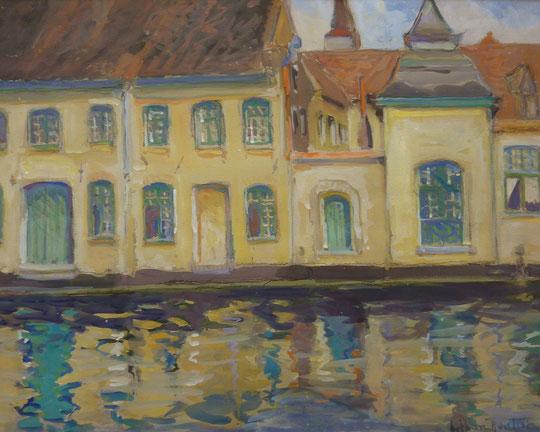 Représentant un canal, vraissemblablement de Bruges dans les années 1935.