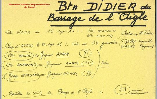 Bataillon DIDIER du barrage de l'Aigle le 16/09/1944 Archives du Cantal