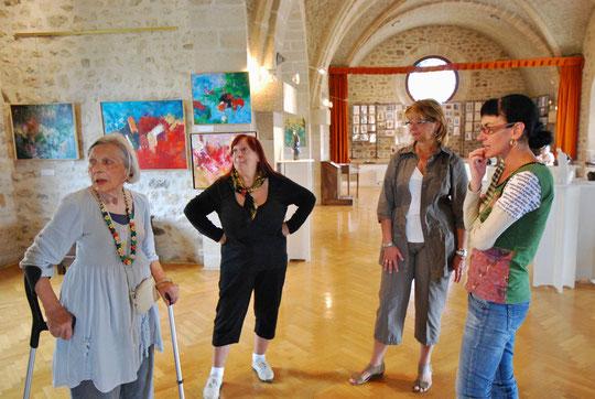 Ginette AUBERT peintre, Nicole DANG peintre, Danielle AUBIGNAC, Claudine HEBRARD écrivain.